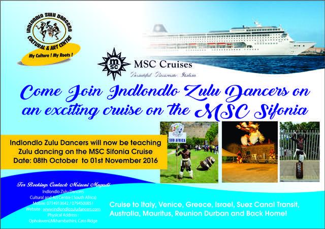 Indlondlo Zulu Dancers to teach Zulu Dancing on MSC Sifonia Cruise